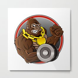 Angry gorilla with dumbbell  Metal Print