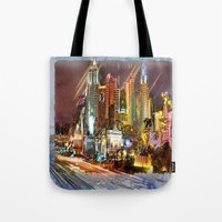 las vegas Tote Bags featuring Vegas by Robin Curtiss