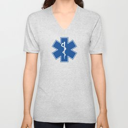 EMT Health Care Rod of Asclepius Blue Star of Life Medical Symbol Unisex V-Neck