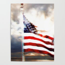 US Flag Totally Glitched Poster
