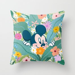 """""""Mickey Mouse in Flower Garden"""" by Sun Lee Throw Pillow"""