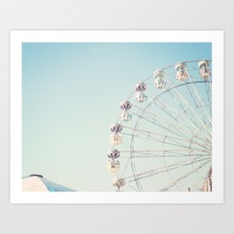 Soft blue ferris wheel  Art Print