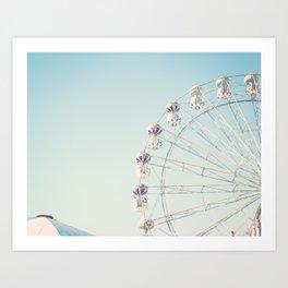 Soft blue ferris wheel  Art Print