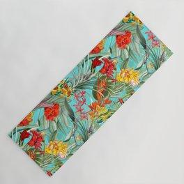 Vintage & Shabby Chic - Pierre-Joseph Redouté -Colorful Tropical Blue Garden Yoga Mat