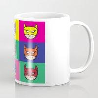 popart Mugs featuring Bat-Popart-Man by EdwardJ