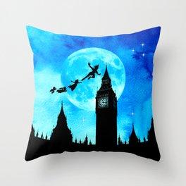 Magical Watercolor Night - Peter Pan Throw Pillow