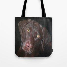Inquisitive Chocolate Labrador Tote Bag