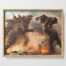 Godzilla vs King Kong Moster Fight Movies Art Print Decor Home Poster Full Size Serving Tray