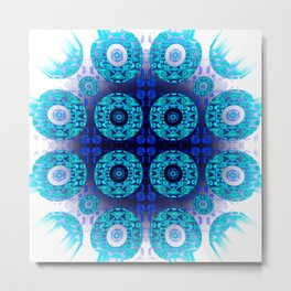 Bright Aqua Indigo Mandala Splash Metal Print