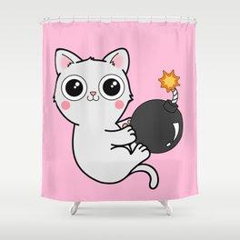 Kitty With a Ball of YaaAAAAA!!! - Explosives Expert Boom Cat Shower Curtain