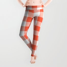 Jumbo Living Coral Color of the Year Orange and White Buffalo Check Plaid Leggings