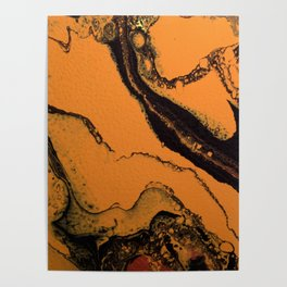 Dirty Acrylic Pour Painting 07, Fluid Art Reproduction Abstract Artwork Poster