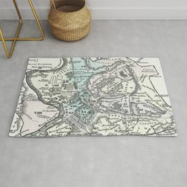 Vintage Map of Rome Italy (1862) Rug