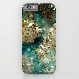 SPARKLING GOLD AND TURQUOISE CRYSTAL iPhone Case