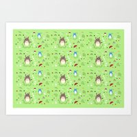 ghibli Art Prints featuring Ghibli pattern by Sophie Eves