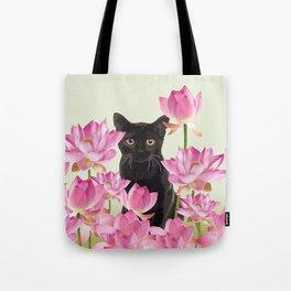 Lotos Flower Blossoms Black Cat Tote Bag