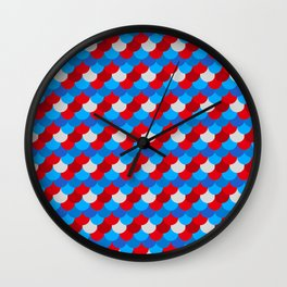 Mermaid Tail Pattern American Flag Colors Xmas  Wall Clock