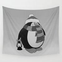 penguin Wall Tapestries featuring Penguin by mangulica illustrations