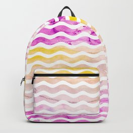 Neon pink yellow watercolor geometric wave pattern Backpack