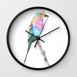 Lilac Breasted Roller - Colored Pencil Wall Clock