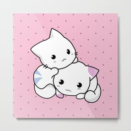 Kitty Couple Love Metal Print