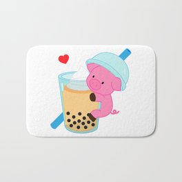 Pig with Orange Bubble Tea Bath Mat