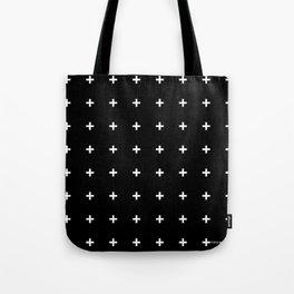 White Plus on Black /// www.pencilmeinstationery.com Tote Bag