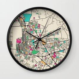 Colorful City Maps: Baton Rouge, Louisiana Wall Clock