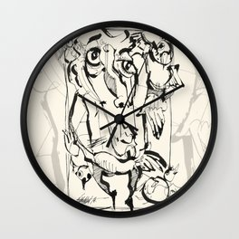 With Four Friends Wall Clock
