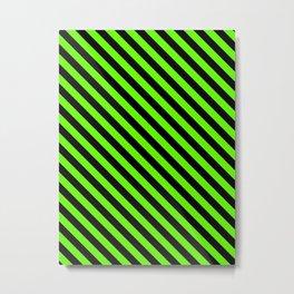 Bright Green and Black Diagonal LTR Stripes Metal Print