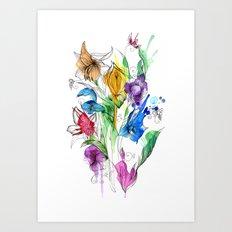 40's style flowers Art Print