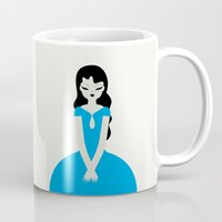 dress Mugs featuring Blue dress by Marco Recuero