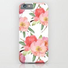 Pretty Pink Garden Flowers Watercolor iPhone 6 Slim Case