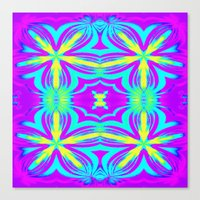 psychedelic art Canvas Prints featuring psychedelic Floral Fuchsia Aqua by 2sweet4words Designs
