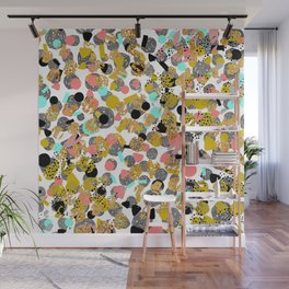 LOLA - abstract art painting modern trendy colors, gold foil, dots pattern decor Wall Mural