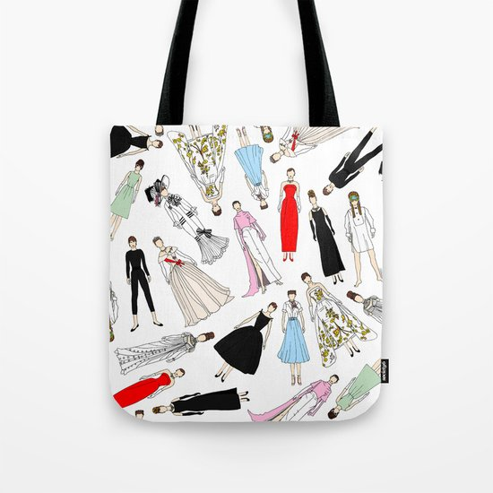Outfits of Audrey Hepburn Fashion (White) Tote Bag