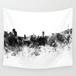 Seoul skyline in black watercolor Wall Tapestry