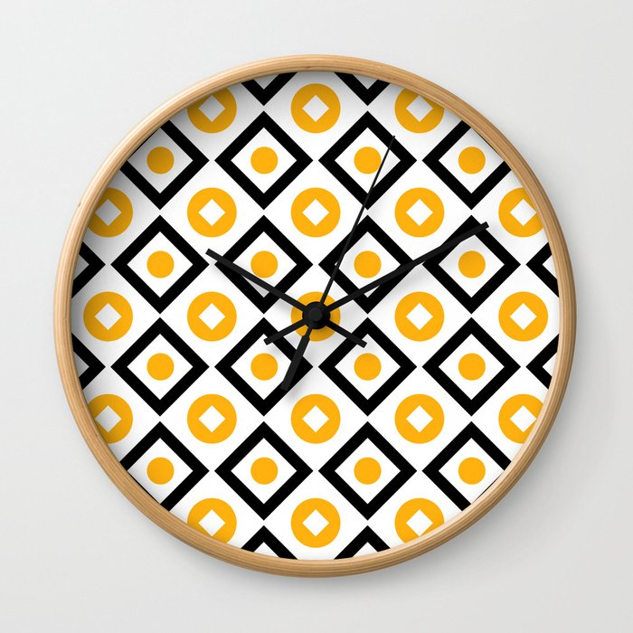 Sun yellow pattern of rhombuses and circles Wall Clock