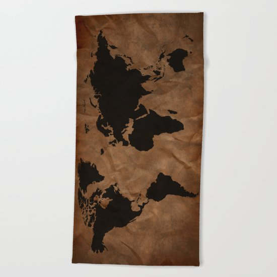 Old Wrinkled World Map Beach Towel