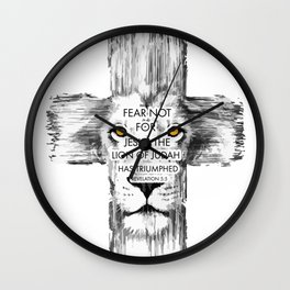 Lion Cross jesus revelation Wall Clock