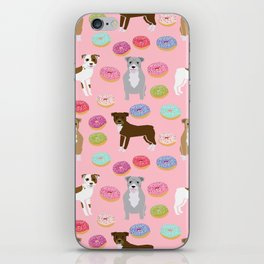 Pitbull dog breed donuts doughnut dog art pibble dog lover rescue pupper iPhone Skin