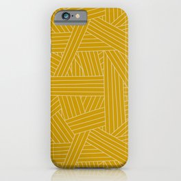 Crossing Lines in Mustard Yellow iPhone Case
