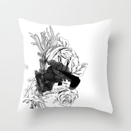 ink flower Throw Pillow