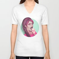 tooth V-neck T-shirts featuring Sweet Tooth by Wendy Stephens