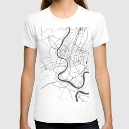 Bangkok Thailand Minimal Street Map - Gray and White T-shirt