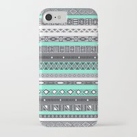 tiffany iPhone & iPod Cases featuring Tiffany Turquoise Aztec Print by RexLambo
