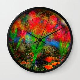 Wild Poppy Hallucintion Wall Clock