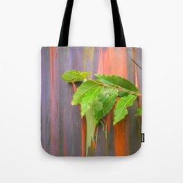 Hawaiian Rainbow Eucalyptus Colorful Tree and Vibrant Leaves Tote Bag