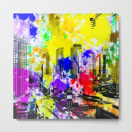 building of the hotel and casino at Las Vegas, USA with blue yellow red green purple painting abstra Metal Print