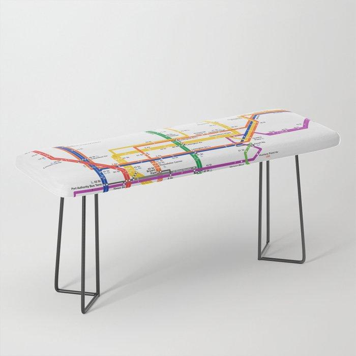 New York City subway map Bench